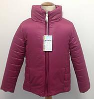 Куртка демисезонная для девочки итальянская Bimbus малиновая удлиненная на синтепоне, фото 1
