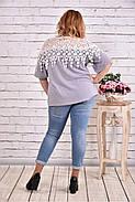 Женская блуза макраме 0608 / размер 42-74 цвет серый, фото 4