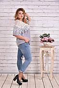 Женская блуза макраме 0608 / размер 42-74 цвет серый, фото 2
