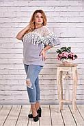 Женская блуза макраме 0608 / размер 42-74 цвет серый, фото 3
