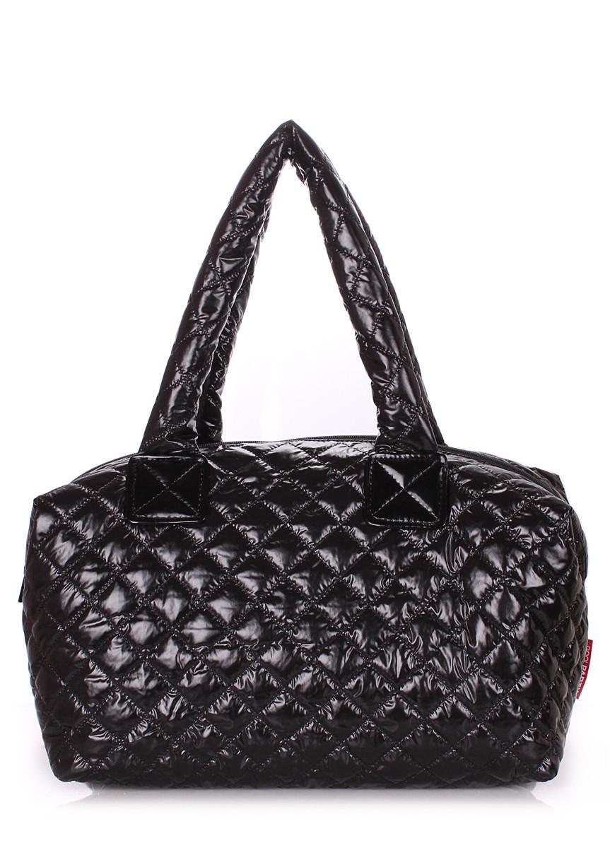 Дутая женская сумка из ткани черная