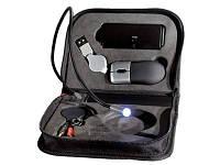 Набор компьютерных аксессуаров в футляре: оптическая мышка, USB Hub на 4 порта, интернет телефон, фонарик