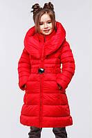 Красное оригинальное зимнее пальто для девочки