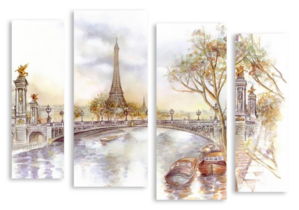 Модульная картина рисунок Париж