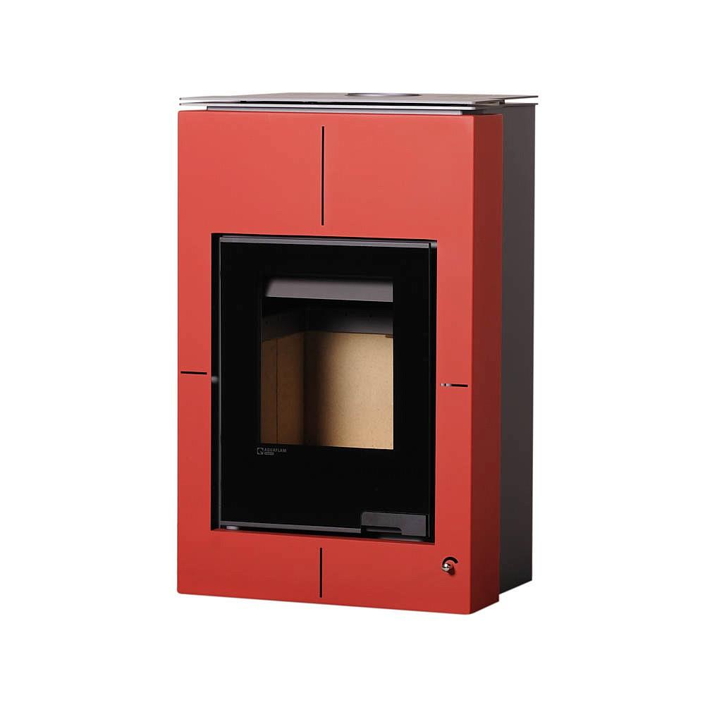Отопительная печь-камин длительного горения AQUAFLAM VARIO SAPORO (водяной контур, красный)