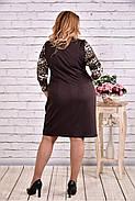 Женское прямое платье рукав 3/4 0607 цвет коричневый / размер 42-74 / батальное, фото 4