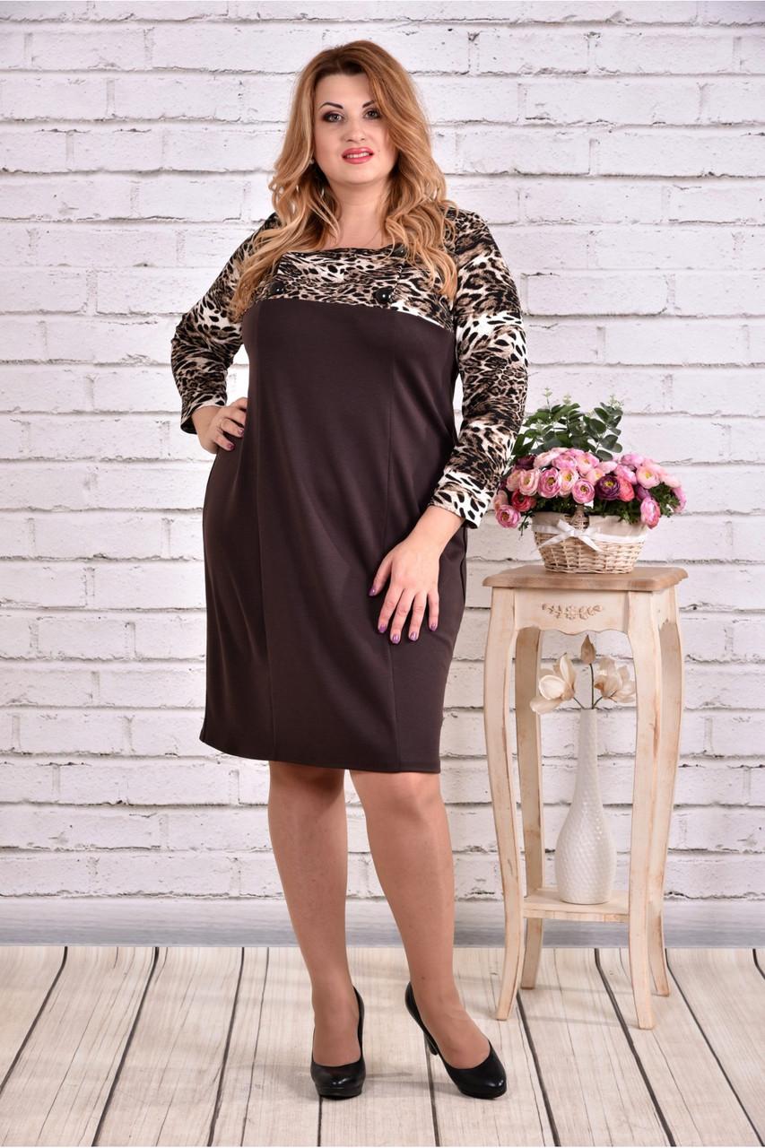 Женское прямое платье рукав 3/4 0607 цвет коричневый / размер 42-74 / батальное