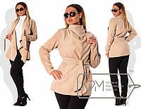 Стильное кашемировое  пальто для пышных модниц (застёжка на запах, широкий пояс на завязке) РАЗНЫЕ ЦВЕТА!