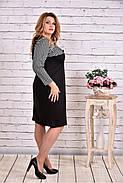 Женское прямое платье рукав 3/4 0607 цвет черный / размер 42-74 / батальное, фото 2