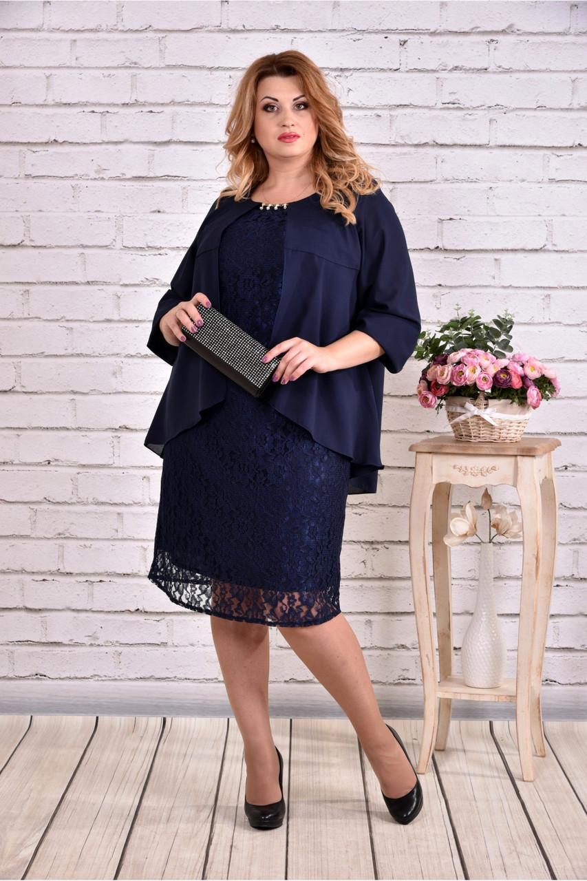 Женское платье миди с гипюром 0605 цвет темно синий / размер 42-74 / большой размер