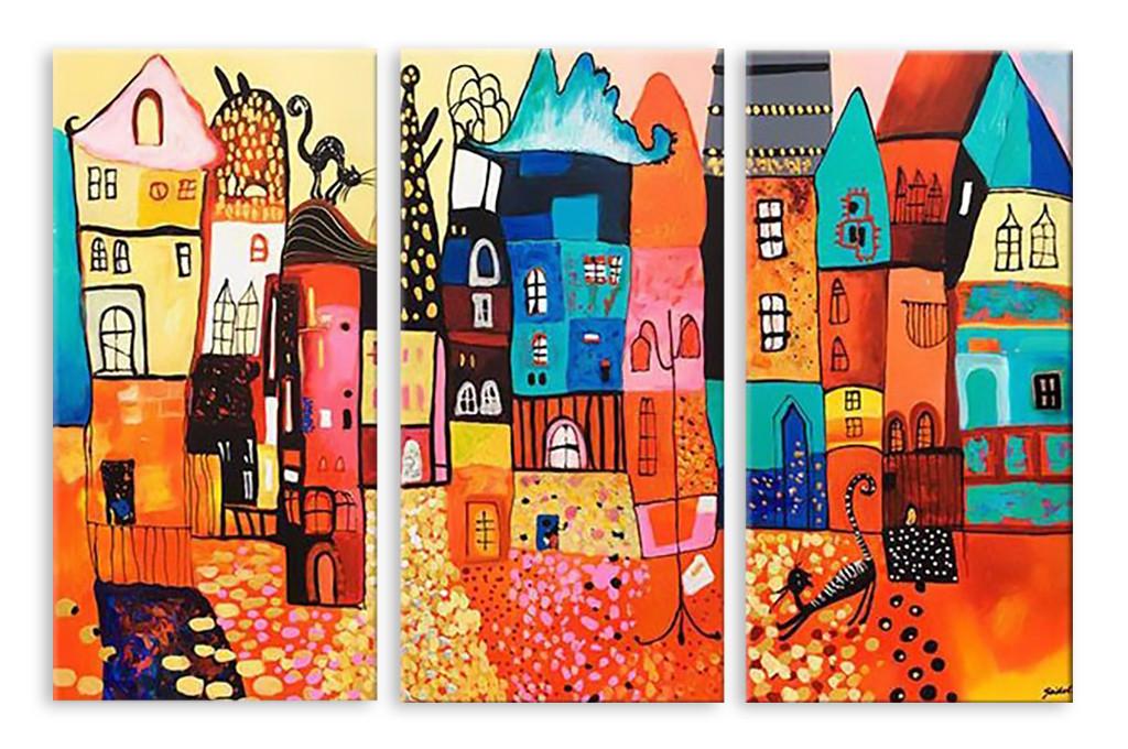 Модульная картина нарисованные дома