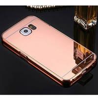 Металлический бампер с акриловой вставкой с зеркальным покрытием для Samsung G950 Galaxy S8             Розовый