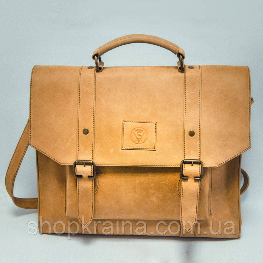 Портфель кожаный VS114 yellow beige 38х35х10 см