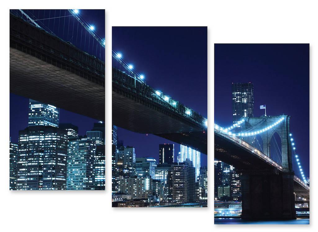 Модульная картина мост и вечерний город