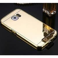 Металлический бампер с акриловой вставкой с зеркальным покрытием для Samsung G955 Galaxy S8 Plus             Золотой