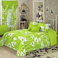 """Двуспальный евро комплект постельного белья """"Белые Маки на зелёном"""""""