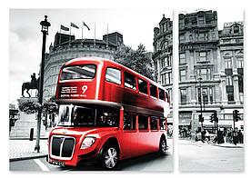 Модульная картина красный автобус