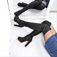 Сапоги женские ботфорты Joslyn замша черные 3729 , зимняя обувь