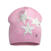 Трикотажная шапочка с звездами для девочки розовая