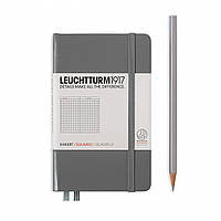 Блокнот Leuchtturm1917 Карманный Антрацит В клетку (9х15 см) (344777) (4004117424663), фото 1