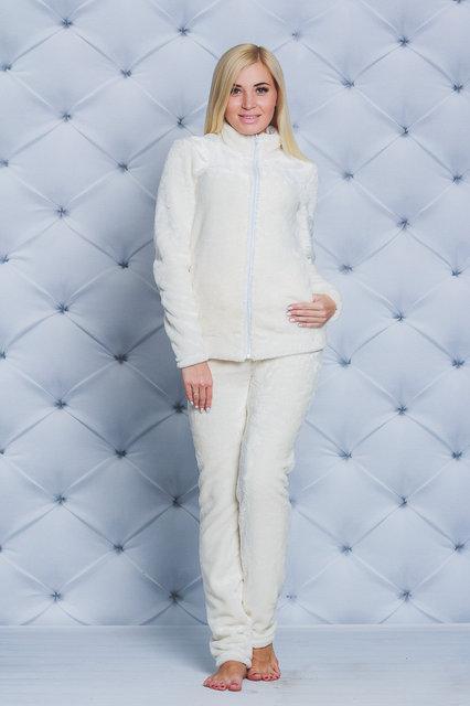 Махровая женская пижама (42-54 р-ры)  молочная