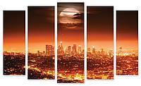 Модульная картина светящийся город