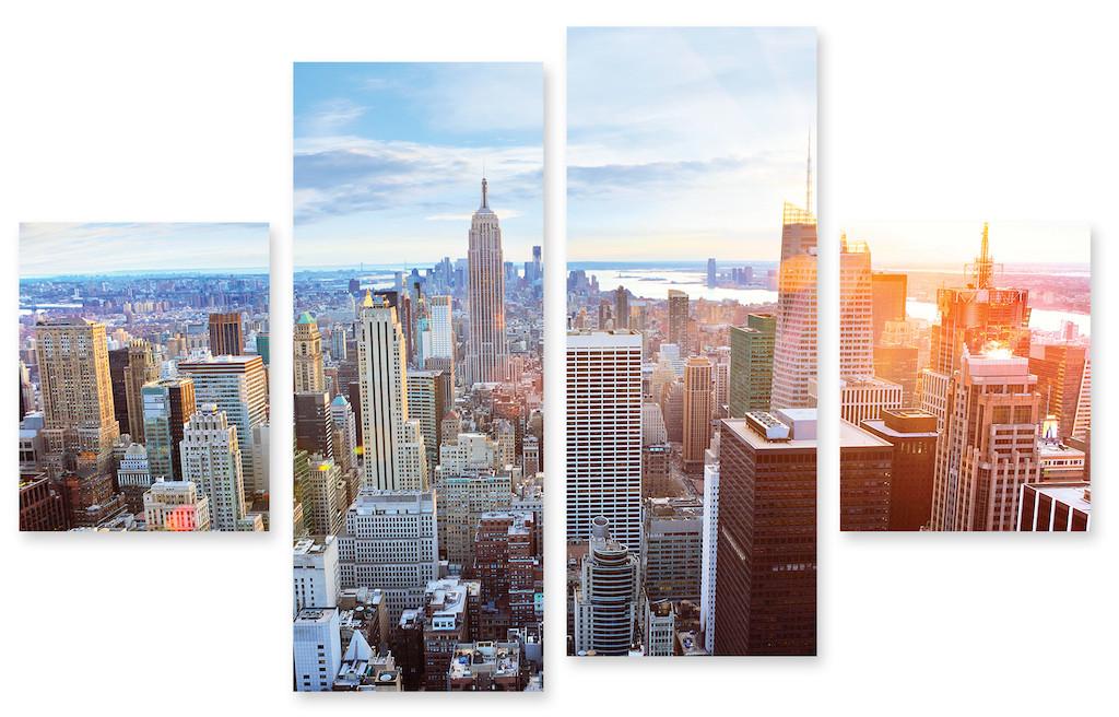Модульная картина утренний город