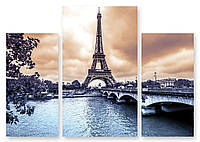Модульная картина Эйфелева Башня и река
