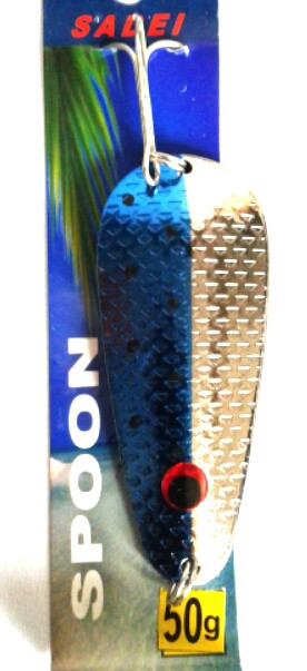 Колебалка Sadei Spoon 50гр. серебряно-голубая  (BKP019)