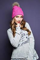 Зимняя женская розовая шапка 17110