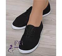 Мокасины женские на шнурке - распродажа  22,5см, черный