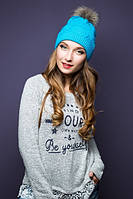 Зимняя женская голубая шапка 17111