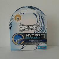 Кассеты для бритья Schick Wilkinson Hydro 3 connect  (Гидро 3 конект переходник для мак 3 жилет) 5 шт., фото 1