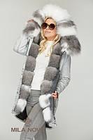 Женская зимняя джинсовая парка с натуральным мехом Frost Fox ТМ Mila Nova