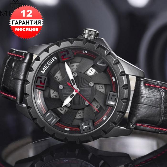 Кварцевые часы Megir (black-red) - гарантия 12 месяцев