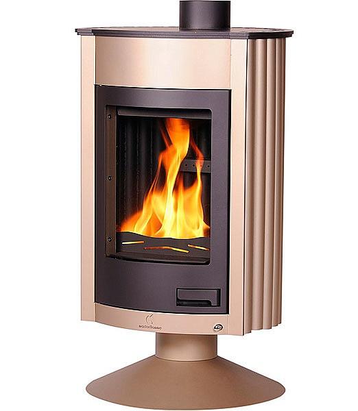 Отопительная печь-камин длительного горения Masterflamme Medie II (кремовый металлик)