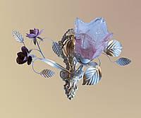 Бра белое с розовыми розами 431/1 WR