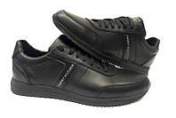 Мужские туфли брендовые Tommy Hilfiger натуральная кожа чёрные 0009ТХ