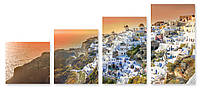 Модульная картина город на скале