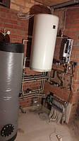 Обвязка топочной с камином с водяной рубашкой, электрокотлом, буферной емкостью, бойлером косвенного нагрева, теплым полом и радиаторным отоплением