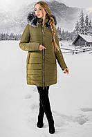 Женская зимняя молодежная куртка Флорида с капюшоном / размер 44-54 / цвет хаки серый мех