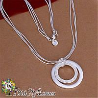 Подвеска кулон Круг кольцо три цепи  посеребренный Элегантный шарм 925 проба колье