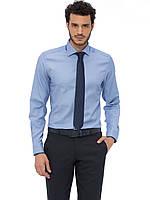 Мужская рубашка голубая LC Waikiki / ЛС Вайкики с синей окантовкой на воротнике