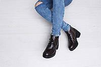 Ботинки женские на большом каблуке коричневые 5244