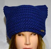 Теплая вязанная шапка с ушками