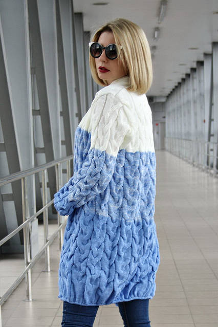 Кардиган вязанный Коса Лало меланж NEW color молоко/меланж/голубой, фото 2