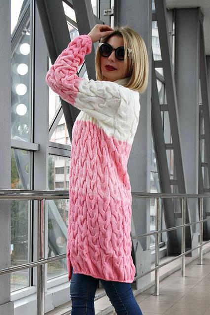 Кардиган вязанный Коса Лало меланж NEW color молоко/меланж/розовый, фото 2