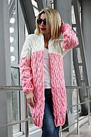 Кардиган вязанный Коса Лало меланж NEW color молоко/меланж/розовый, фото 1