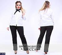 Модный костюм больших размеров черно-белый. Арт-14064