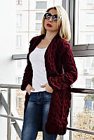 Кардиган вязанный короткий Коса Лало NEW color бордо, фото 1